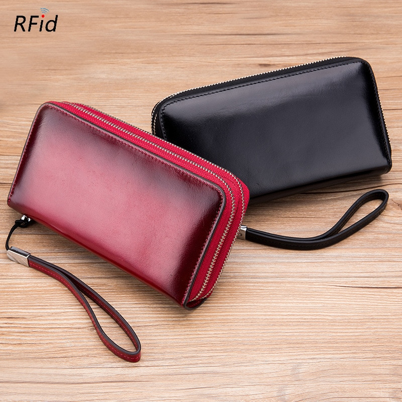 New RFID Long Wallet for Women Genuine Leather Female Travel Purse High Capacity Zipper Women's Wallet 24 Cards Holder