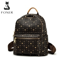 FOXER Women Signature PVC Printing Fashion Backpack Ladies Travel Rucksack Female Retro Monogram Business Laptop Backpack