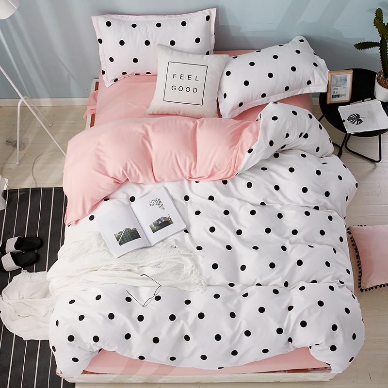 54 Textile Bedding Sets polka dot pattern bed linens Duvet Cover Set Quilt cover Pillowcase pink cute nordic bed 3/4pcs queen