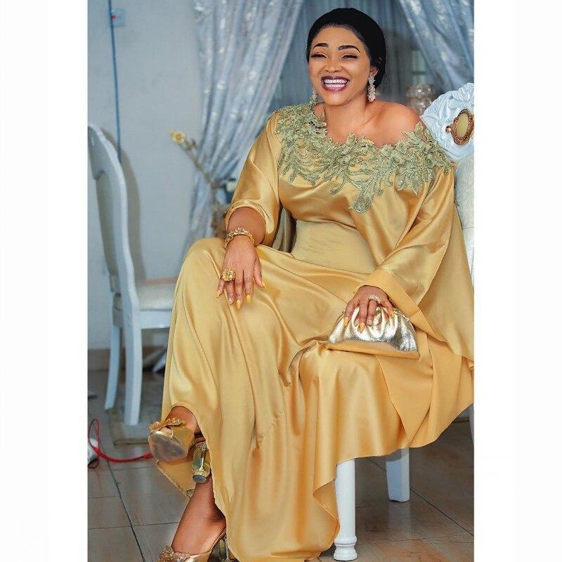 Women's Clothing Summer Dress 2020 Fashion Golden Big Chiffon Patchwork Wide Hands Maxi Long Dress Casual Elastic Vestidos