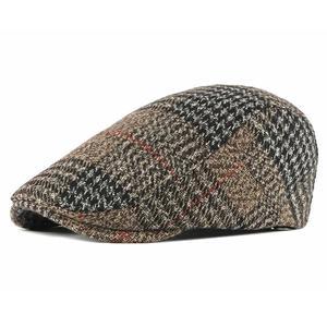 2021 Acrylic four seasons plaid Newsboy Caps Flat Peaked Cap Men and Women Painter Beret Hats 83