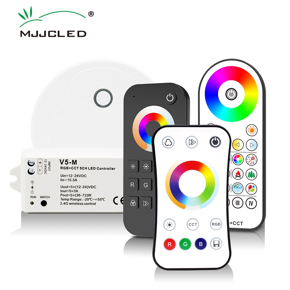RGBCCT LED Controller 12V 24V 5CH RGB CCT RGBW RGBWW LED Strip Light Controller Smart Wifi RF Wireless Touch Remote Control V5-M 2 4g touch screen led rgb rgbw controller wireless dc12 24v touch rf control for rgb rgbw led strip 18a remote controller