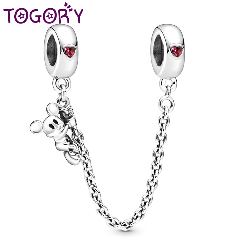 TOGORY, abalorio de Color plateado, Mickey Minnie con cadena de seguridad de cristal brillante, cuentas de Clip para pulsera Pandora, joyería DIY