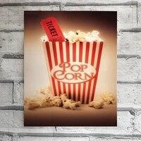 Panneau de cinema en etain avec pop-corn drole  affiche murale en metal  decor de maison  bureau  Bar  Pub  magasin  Garage