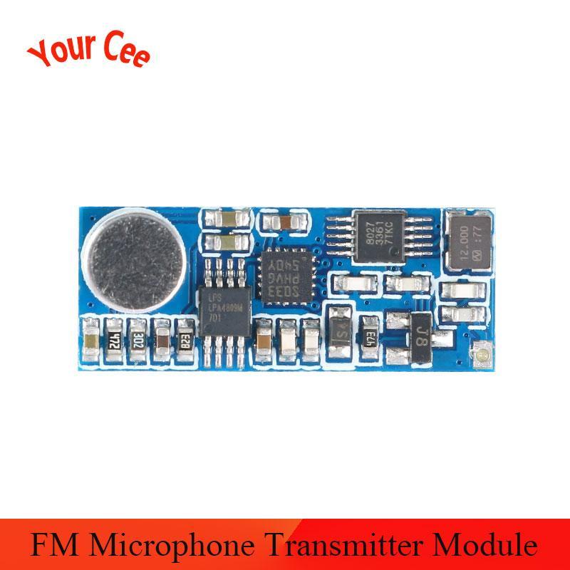 Mini FM módulo transmisor de micrófono inalámbrico tablero de canales único 3-5V 100mW sensibilidad ajustable USB a TTL 80K 76-108MHz