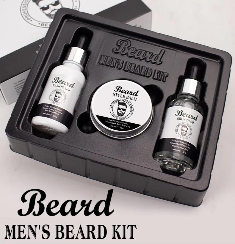 3PCS/SET Beard Growth Kit Hair Growth Enhancer Set Beard Beard Growth Essentital Oil Beard Wash Style Balm