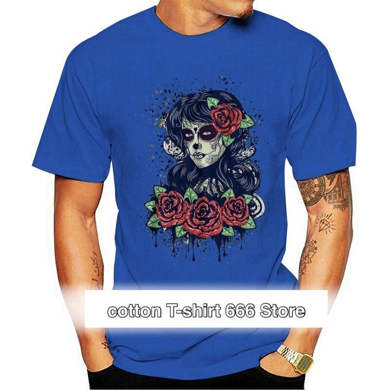 Camiseta con calavera de azúcar para hombre de ropa informal de estilo...