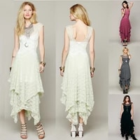 vintage hippie boho people embroidery floral maxi lace crochet party long dress