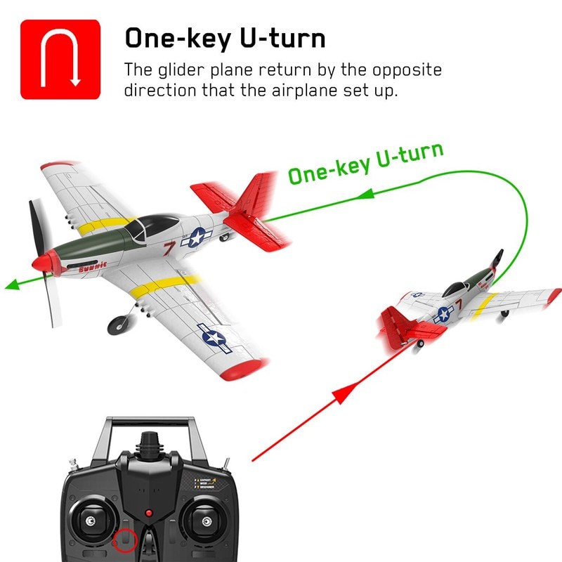 Eachine Mini P-51D EPP 400mm Wingspan 2.4G 6-Axis Electric RC Airplane Trainer 14mins Fight Time Fixed Wing RTF for Beginner enlarge