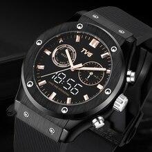 Luxury Brand Men Watches Men Sports Watches Silicone Band Led Dispaly Analog Digital Quartz Wristwat