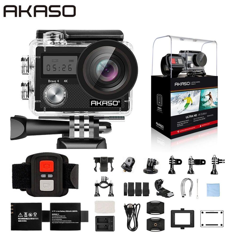 AKASO-كاميرا فيديو مقاومة للماء فائقة الدقة ، 4K ، واي فاي ، 2.0 بوصة ، 170D ، 20 ميجابكسل ، خوذة ، كاميرا رياضية ، عصا سيلفي ، هدية