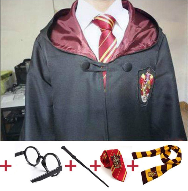 Los niños adultos Potter bata capa con pañuelo para lazo varita Ravenclaw Gryffindor Hufflepuff Slytherin Cosplay traje