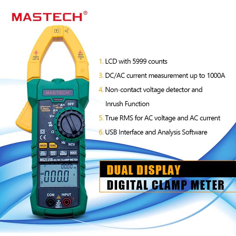 MASTECH MS2115B medidor de pinza de corriente Digital CA/CC voltaje de corriente 6000 recuentos NCV trms, medidor de abrazadera USB, multímetro 1000A