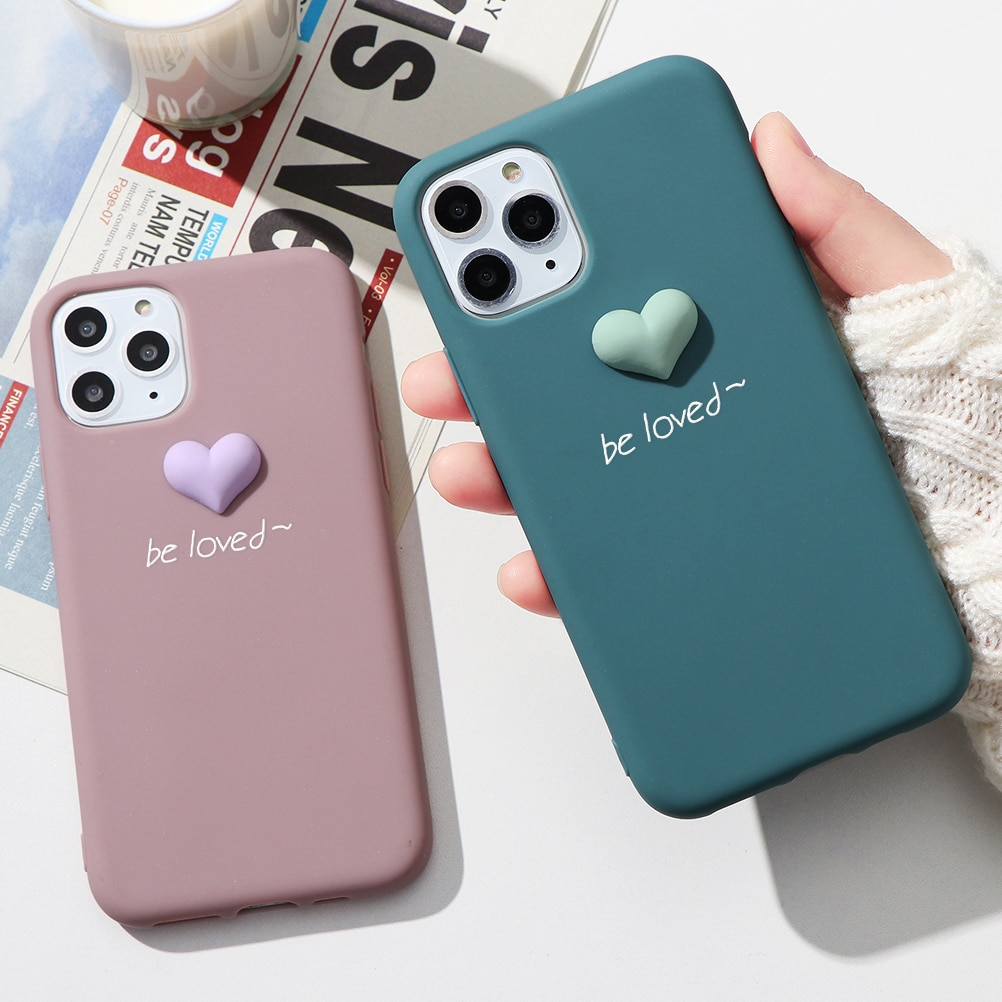 Funda 3D Loved de silicona mate de color bonito para iPhone 11 Pro Max 7 Plus 5 5S SE X 6 6S 8 Plus XR 11Pro XS Max funda suave de TPU