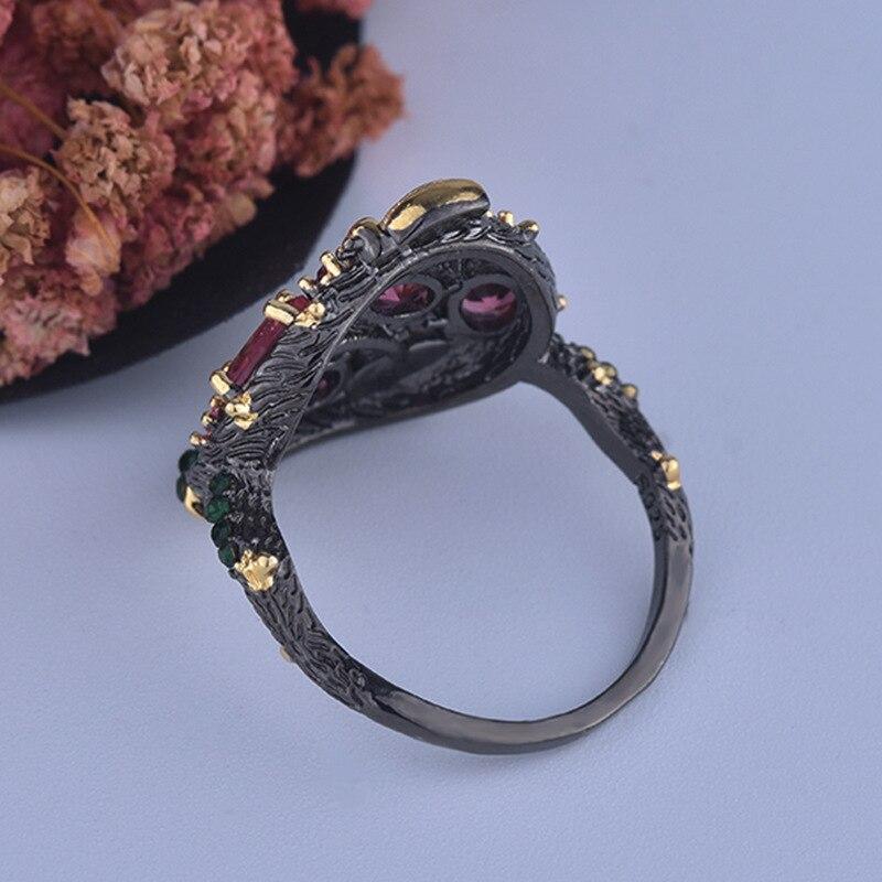 Vintage exquisito S925 estilo gótico de dos colores abeja oval joyería geométrica señoras anillo de regalo de compromiso de boda