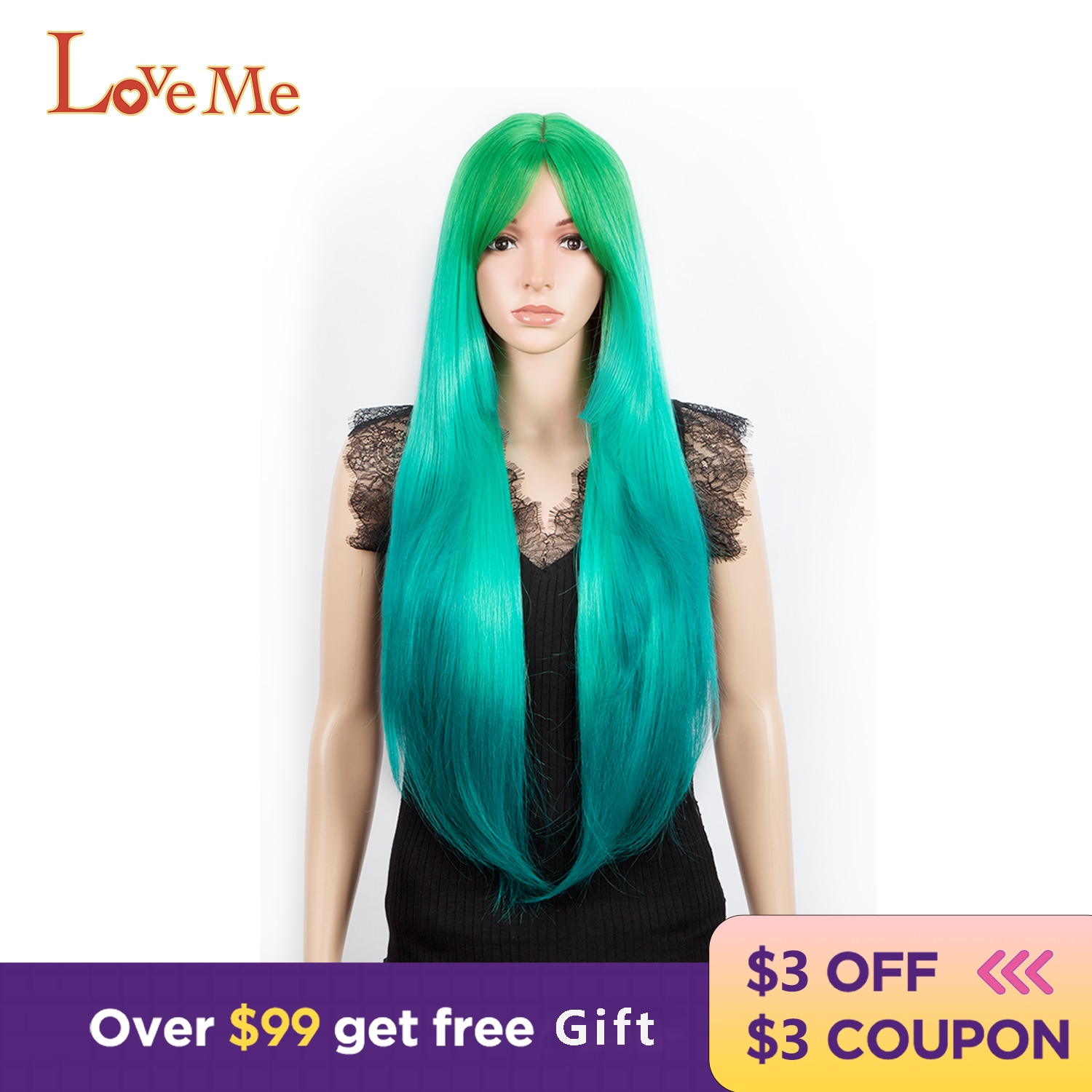 Фото - 32 Inches Synthetic Wigs Ombre Green Color Hair Cosplay super Long straight Heat Resistant fiber wiggins hair For Women bradley wiggins bradley wiggins my time