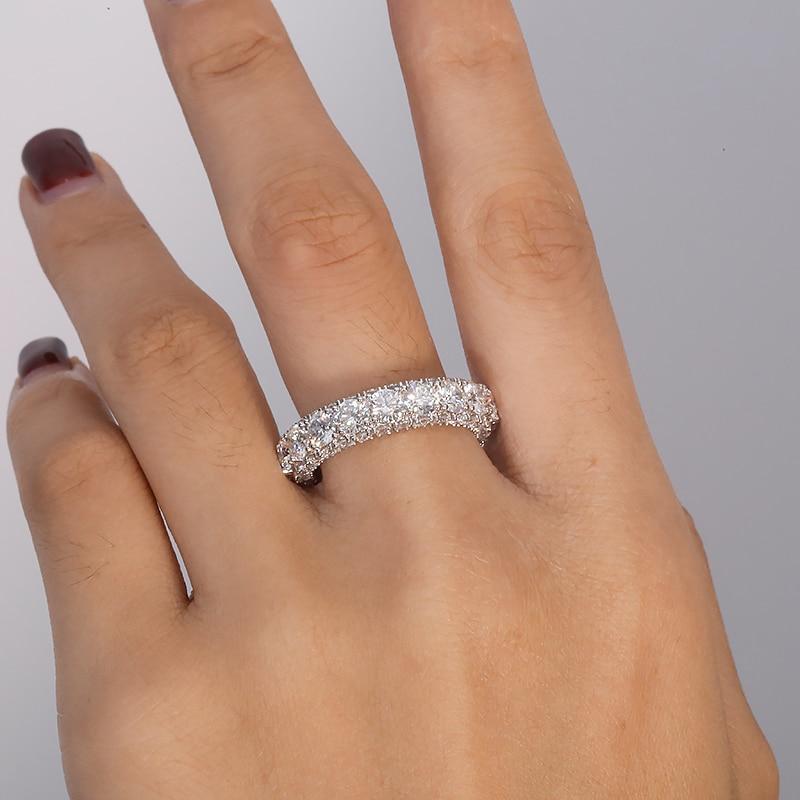 AEAW Solid 10K White gold Luxury 4mm  tatol 5ctw-6.5ctw Engagement Ring Wedding Moissanite Full Enternity Diamond Band For Women