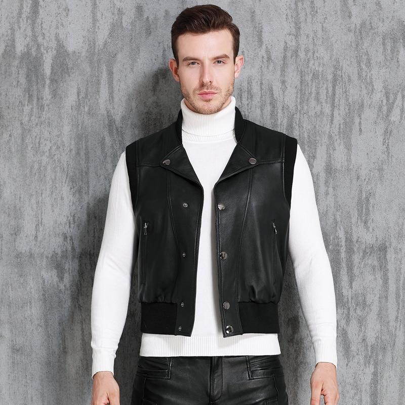 Vest Genuine Leather Men Waistcoat Motorcycle Biker Real Sheepskin Fleece Lined Autumn Winter Sleeveless Jacket Coat Outerwear