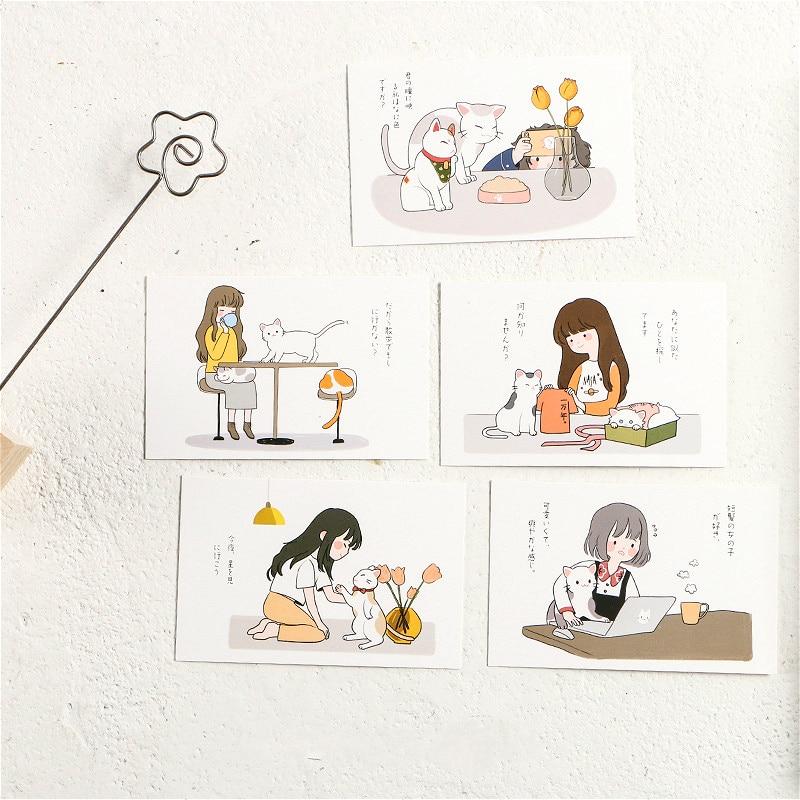 Маленькая открытка с котом для девушек и девушек, дневная жизнь, записываемая Закладка-Закладка с поздравительными письмами, фотографиями, ...