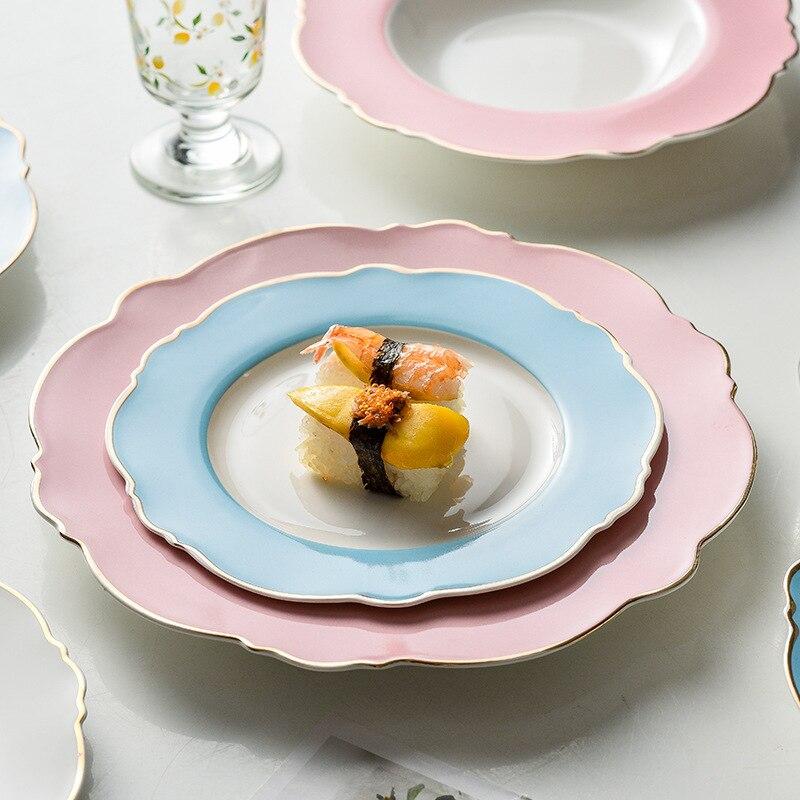 طبق ستيك سيراميك بحافة ذهبية إبداعية ، أطباق بسيطة ، نقطة موجة وردية ، أطباق حلوى على شكل قلب للفتيات