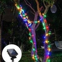 Неоновая светодиодная уличная лампа на солнечной батарее, водонепроницаемый цветной светильник для украшения сада, рождественского дня, г...