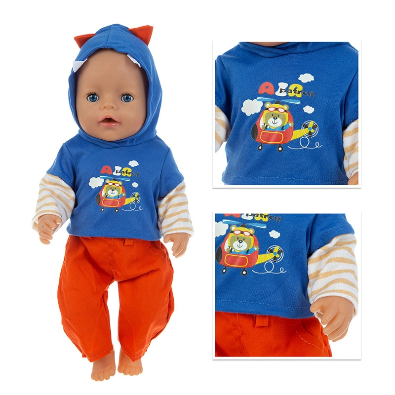 Baby New Born Fit 17 inch 43cm Doll Clothes Accessories 2021 Leisure Suit For Baby Birthday Gift