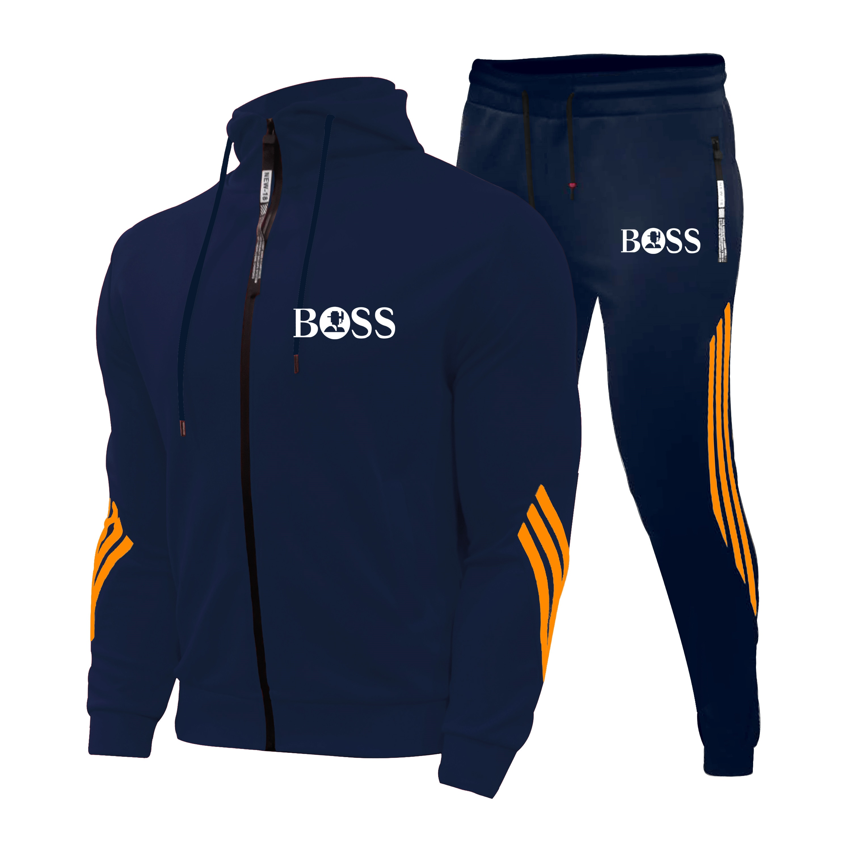 Men's Autumn Winter Sets Zipper Hoodie+pants Two Pieces Casual Tracksuit Male Sportswear Gym Brand C