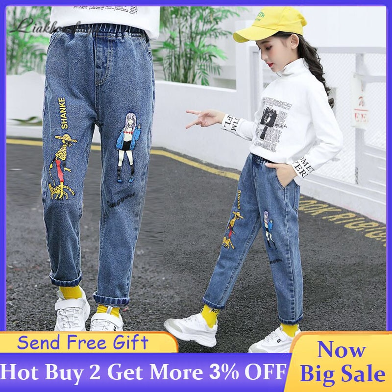Girls Jeans 2020 Spring  Kids Casual Jeans Kids Cute Cartoon Jeans High Quality Fashion Elastic Waist Denim Trousers Tide 2-13Y