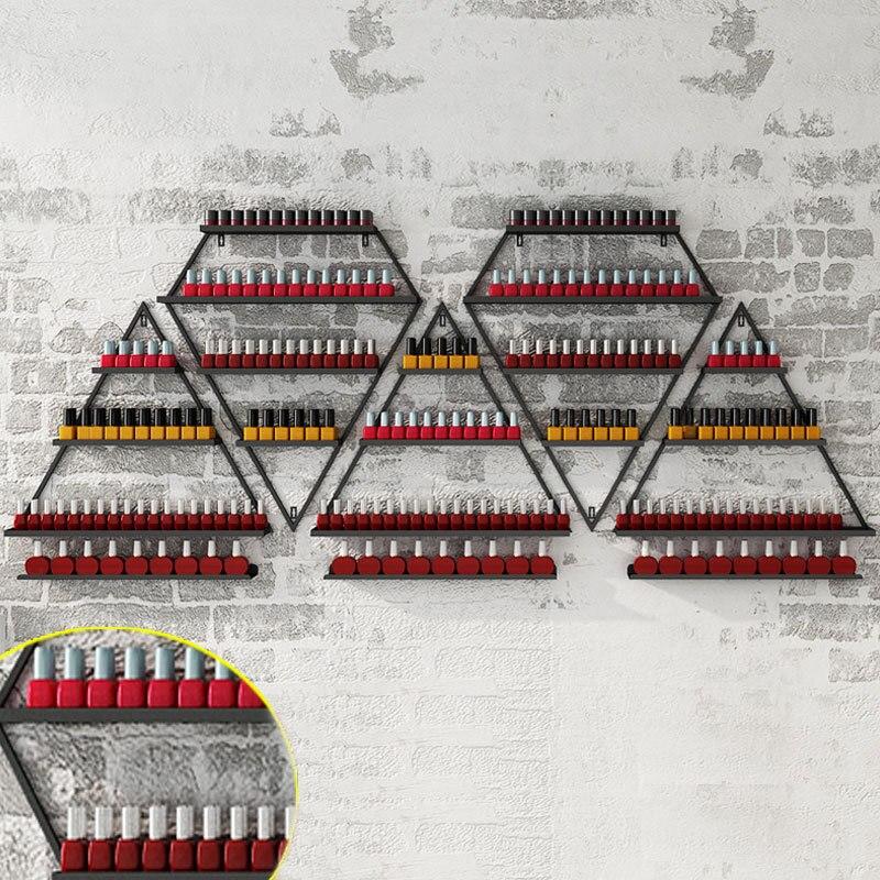 Metal nórdico prego polonês prateleiras cabide de parede decoração da parede da loja do prego quadro ferro arte manicure loja organizador coleção rack