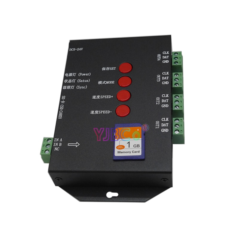 T4000S DC5V LED RGB Controller Configurable SD Card sk6812 WS2812B WS2811 WS2801 LP6803 led digital pixel strips dimmer