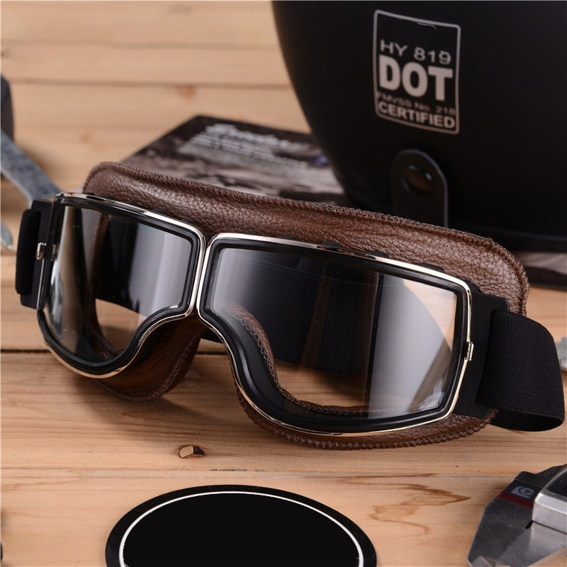 Motorcycle Vintage Retro Sunglasses Leather Goggles Glasses For Casque Moto Ray-Ban Googles Motocross Zx10R Windscreen