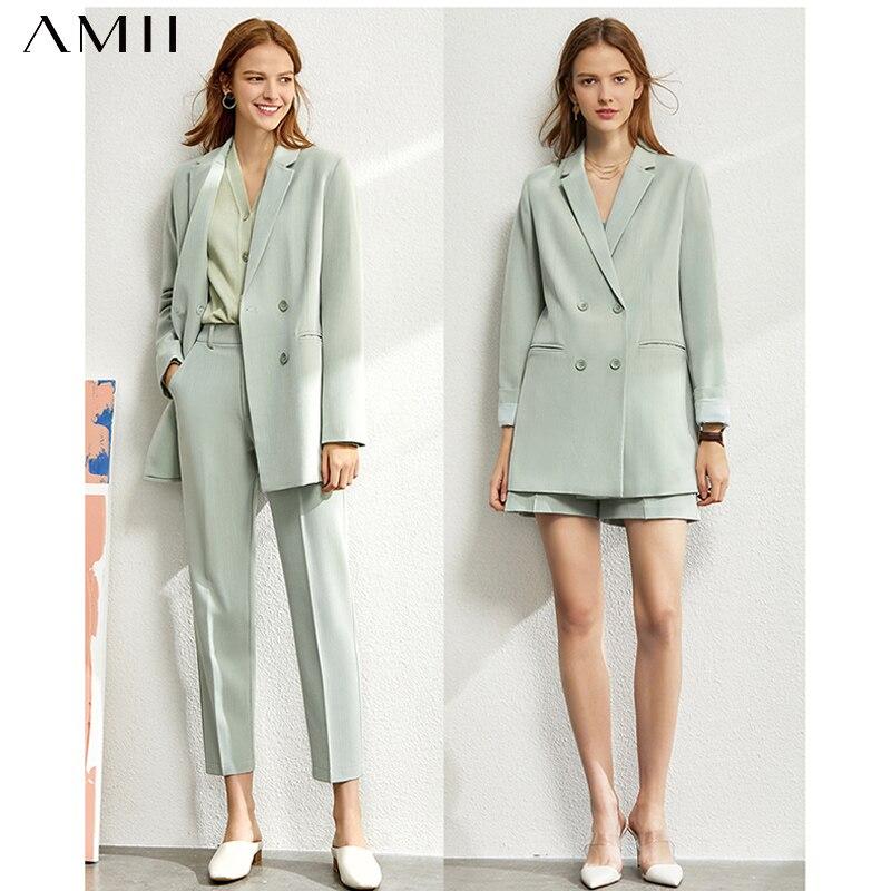 Amii Minimalism Spring Suit Female Offical Lady Blazer Women,Lace Vneck Tanks,High Waist Women's pants Female Shorts 12060909