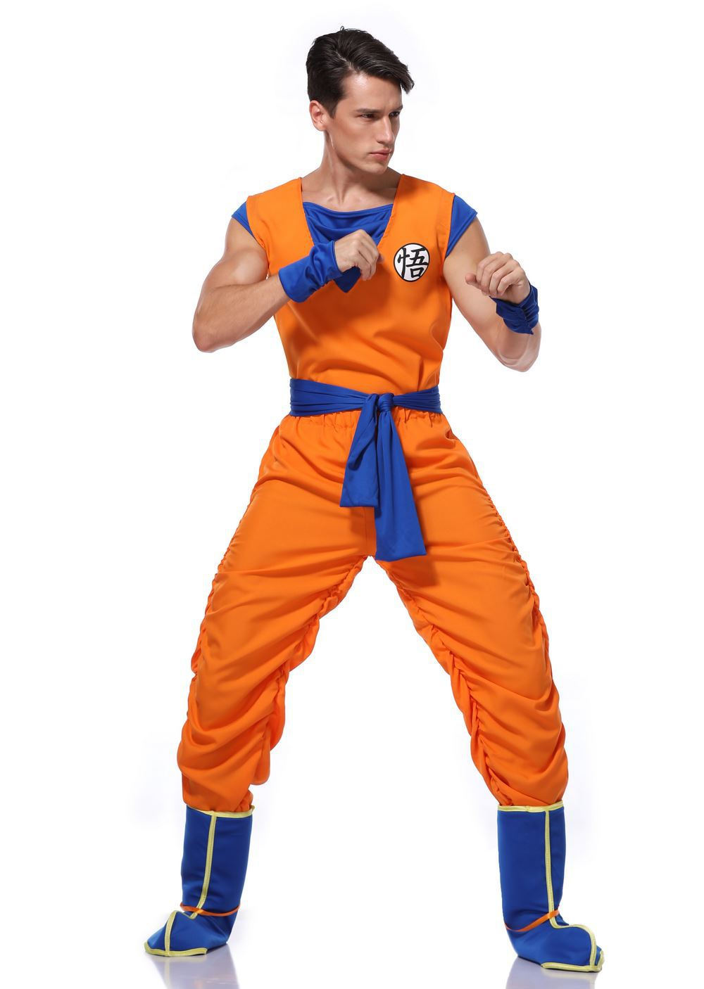 Dragon ball z goku traje Anime Dragon Ball Son Goku Cosplay trajes uniformes ropa de alta calidad para adultos hall