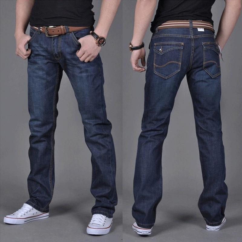 Джинсы Четыре сезона, новинка, мужские прямые штаны, свободные мужские джинсы большого размера, молодежные облегающие повседневные корейск...