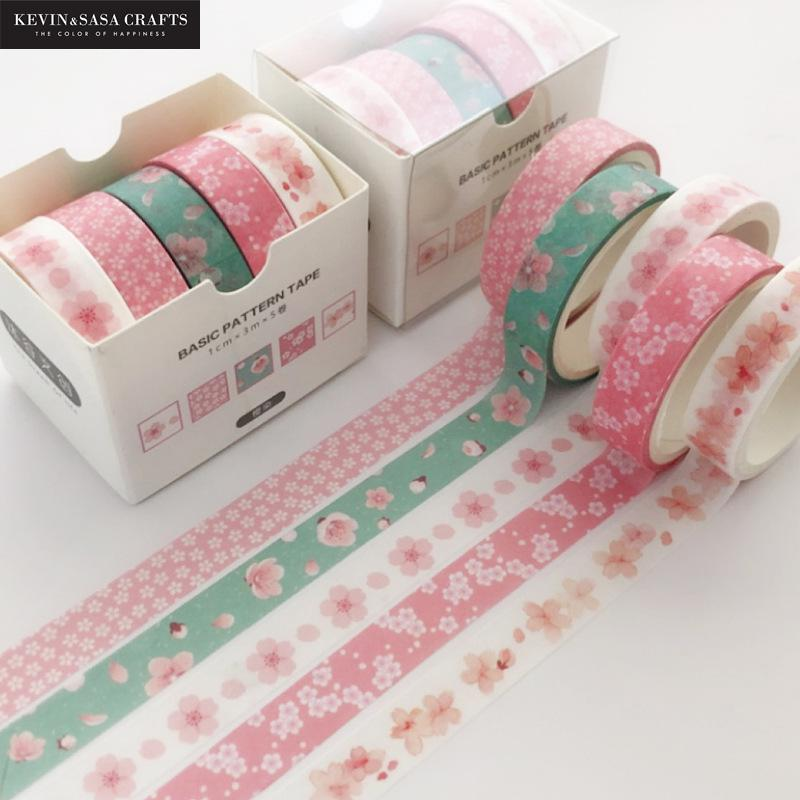 5pcs/set Printing Washi Tape Set Diy Masking Tape Cute Stickers School Suppliers Stationery Gift Presented By Kevin&Sasa Crafts