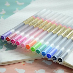 12Pcs/lot Candy Color Gel Pen Set Transparent Rod 0.5mm Gel Pens Quick Drying Marker Liner Drawing Writting Office School Gifts