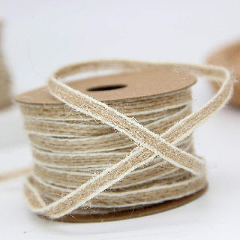 Декоративные планки ленты рулон свадебные с белой линией 10 м * 0,5 см натуральные рыбы шелковые льняные ленты день рождения DIY подарочные упаковочные принадлежности