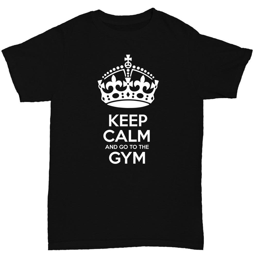 Mantener la calma y ir al gimnasio para hombre Camiseta culturismo cita divertida camiseta femenina masculina