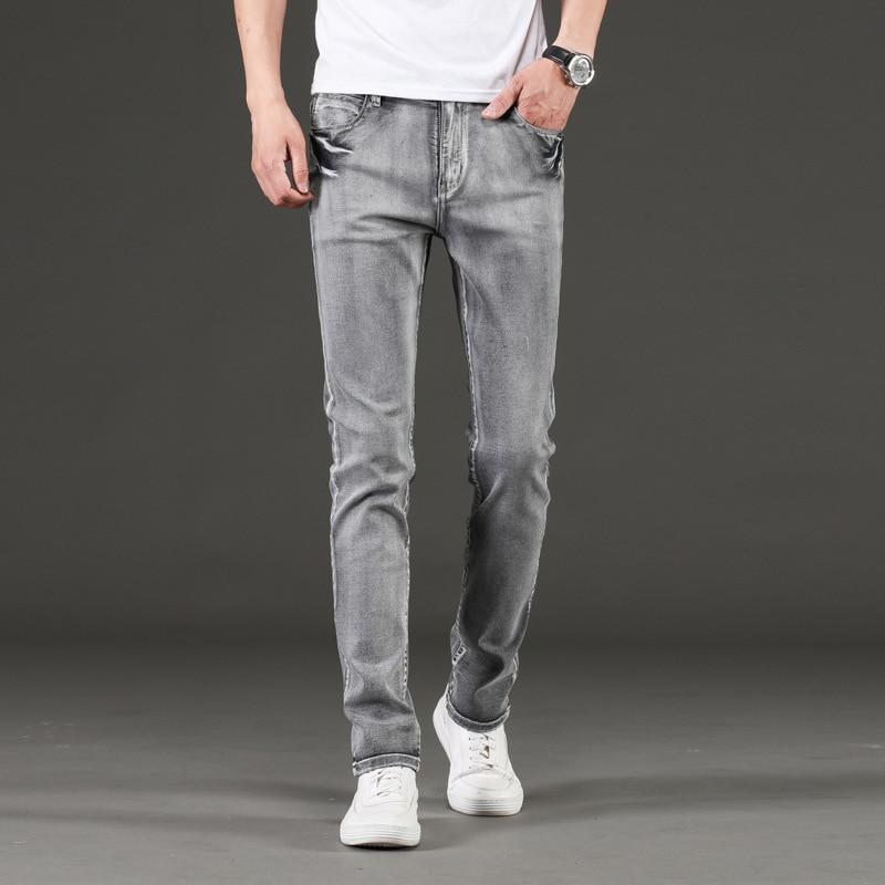 Модные мужские джинсы в Корейском стиле ретро серые эластичные облегающие Простые повседневные джинсы для мужчин винтажные дизайнерские э...