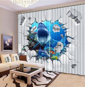 3D Window Curtain crocodile White Curtains For Living Room Bedroom underwater world Kids Room Curtain Drapes