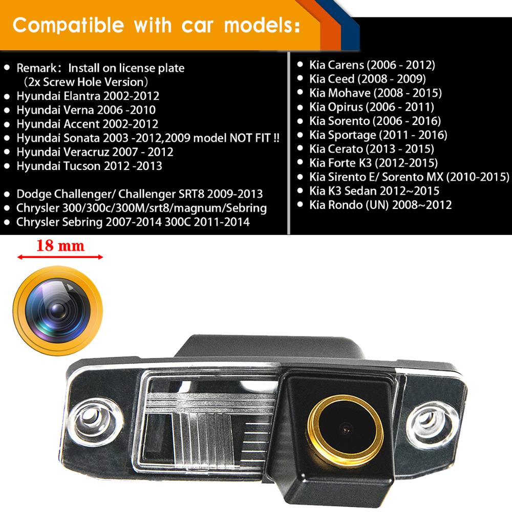 Misayaee Car Rear View Golden Camera for Hyundai Sonata Tucson Elantra Kia Sportage Mohave Dodge Challenger SRT8 Chrysler 300C M