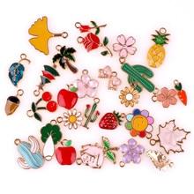 Pendentif émail tournesol feuille Cactus feuille, fleur botanique Fruits pour bricolage, collier breloques, pendentif en émail, 28 pièces/lot, 23626
