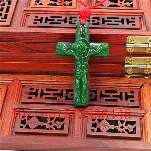 Cruz Jesús tallado Jade colgante Natural chino verde collar encanto Jadeíta joyería moda amuleto de la suerte regalos para las mujeres N03