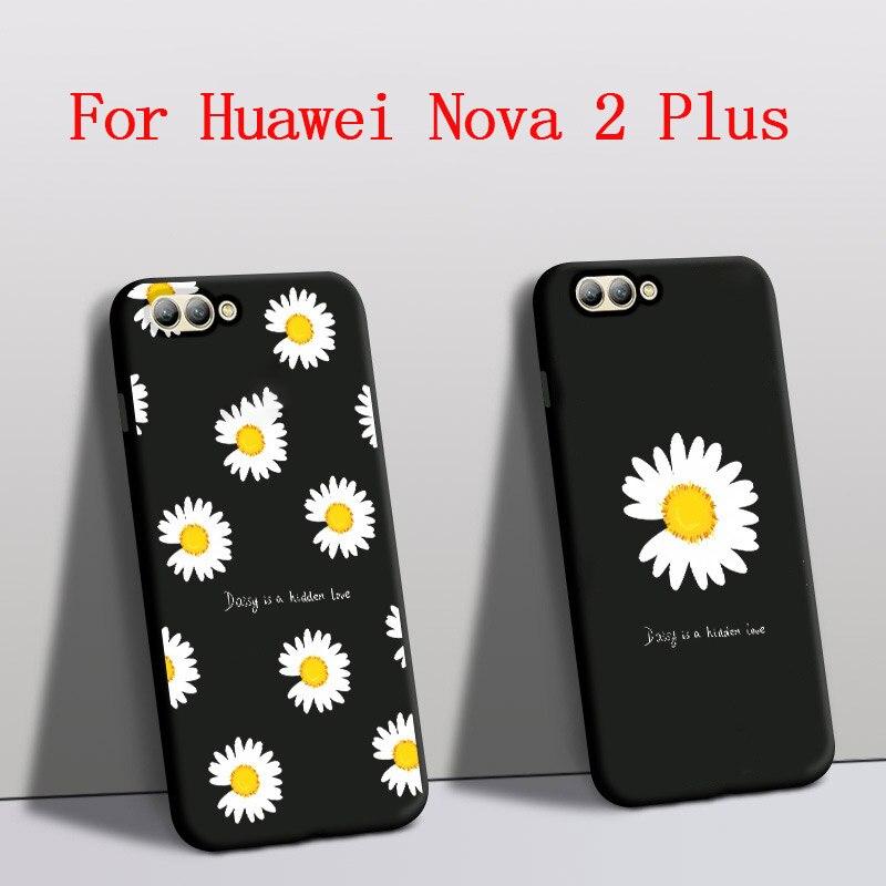 Funda para huawei nova 2 plus caso protetor de silicone daisy flor telefone capa para huawei nova 2 plus capa traseira preto BAC-AL00