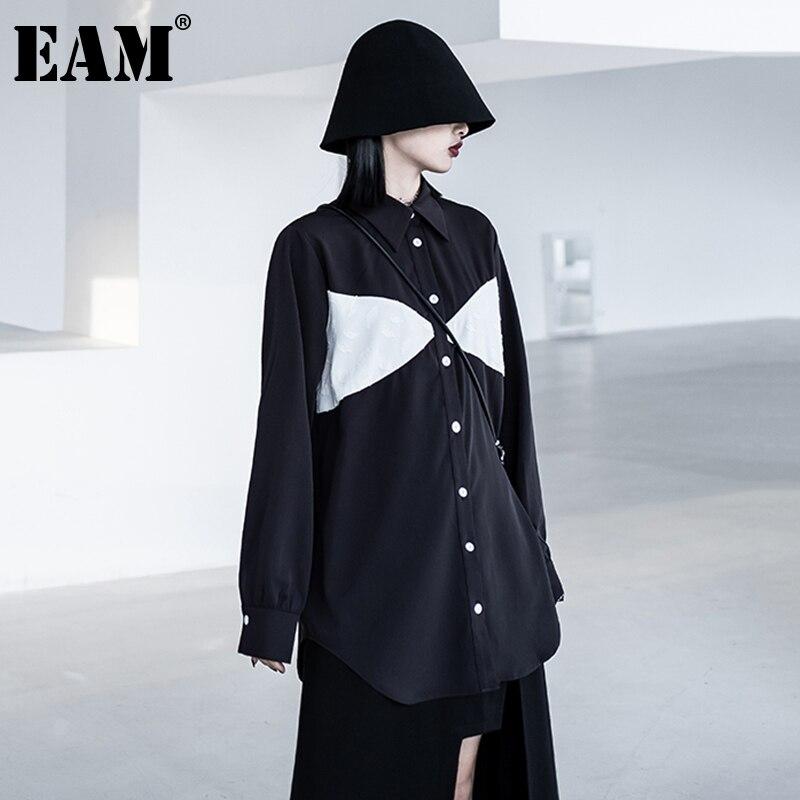 [EAM] بلوزة نسائية سوداء اللون مقاس كبير جديدة بطية صدر وأكمام طويلة فضفاضة تناسب القميص موضة المد ربيع خريف 2021 1DE1439