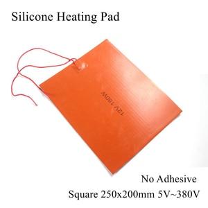 250x200 мм 5 в 12 В 24 в 36 в 48 в 110 В 220 В 380 В силиконовый нагревательный коврик резиновый тепловой коврик Подогреваемая пластина гибкий водонепрони...