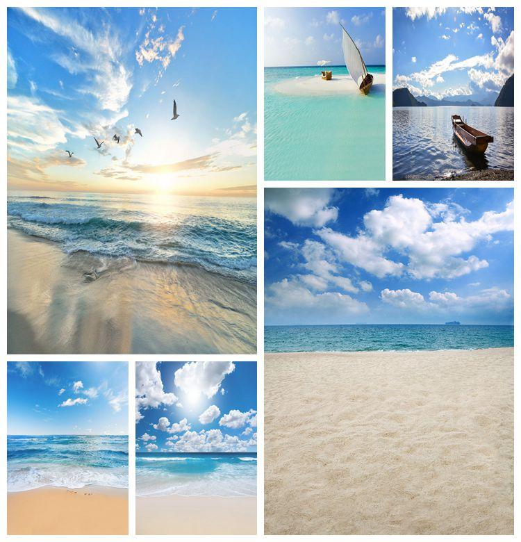 Summer Scenic Landscape Blue Sky Cloud Sunrise Seaside Beach Trees  Mountain Seagull Photo Backdrop Background