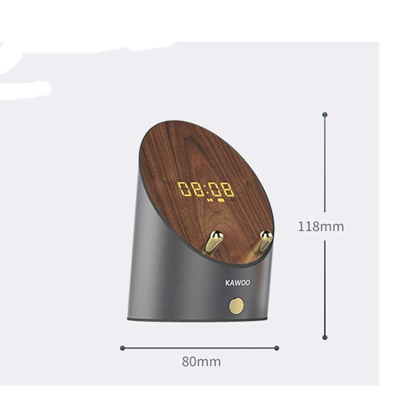 New Design Dual Mode Speaker Wooden Speaker Smart Sensor Mobile Phone Holder Mini Desktop Wireless Alarm Clock Bluetooth Speaker enlarge