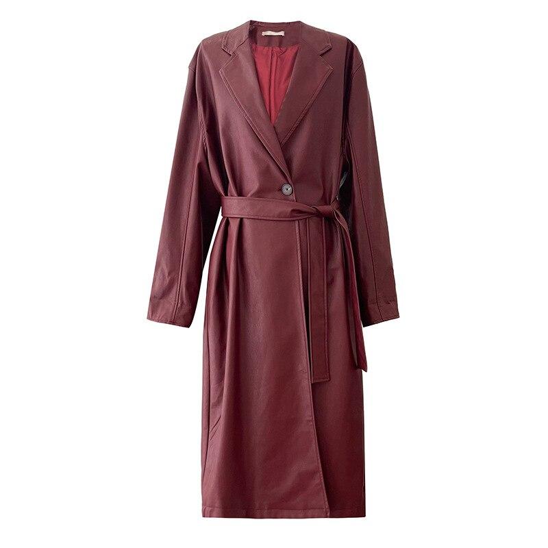 جديد إمرأة طويل جلد خندق معطف الخريف الشتاء أنيقة بدوره أسفل طوق الكورية مزدوجة الصدر سترة واقية السيدات بولي Outwear أبلى