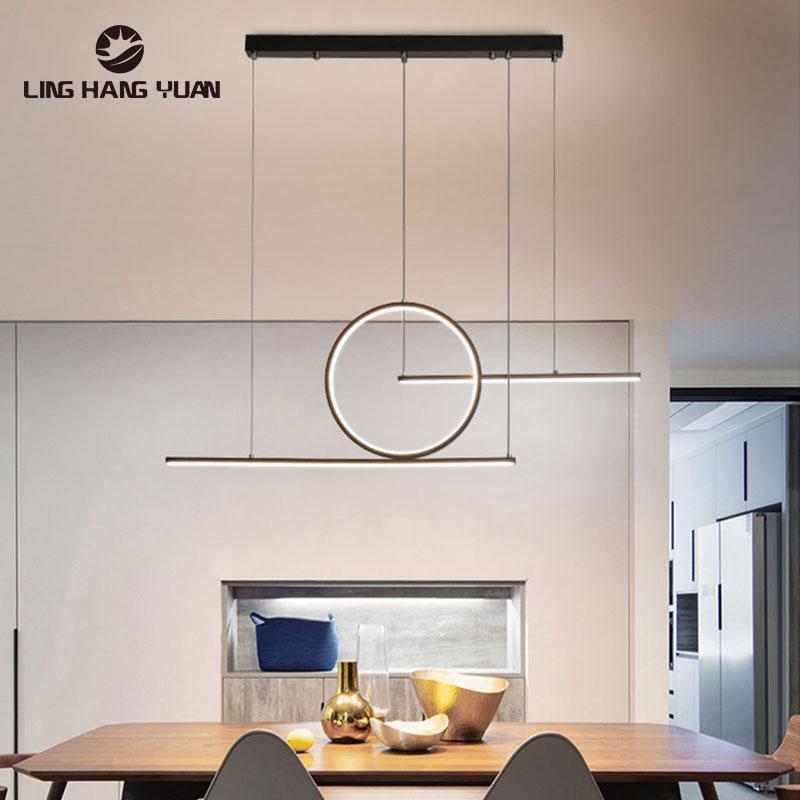 Minimalist Modern Pendant Light Led Hanging Lamp Black&Gold Color Chandelier Pendant Lamp for Dining room Kitchen Ceiling Lustre